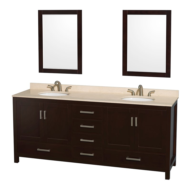 "Sheffield 80"" Double Bathroom Vanity by Wyndham Collection - Espresso WC-1414-80-DBL-VAN-ESP"
