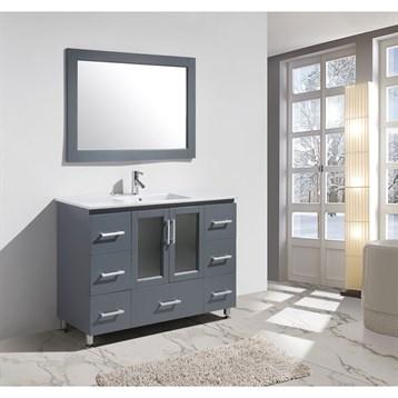 "Design Element Stanton 48"" Bathroom Vanity Set with Drop-In Sink, Gray B48-DS-G by Design Element"