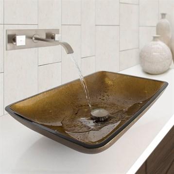 Vigo Rectangular Copper Glass Vessel Bathroom Sink And Titus Dual Lever Wall Mount Faucet In