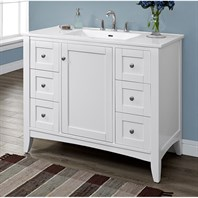 "Fairmont Designs Shaker Americana 42"" Vanity For Integrated Top - Polar White 1512-V42-"