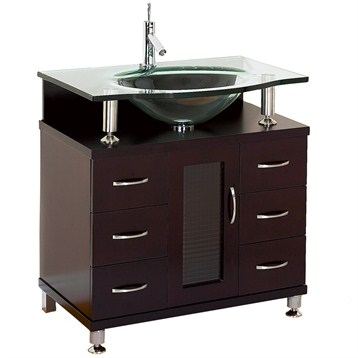 Accara 30 Bathroom Vanity Espresso W Clear Or Frosted Glass Countertop Free Shipping Modern