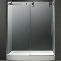 "VIGO 60-inch Frameless Shower Door 3/8"" Clear/Stainless Steel Hardware with White Base - Center Drain VG6041STCL60WL"
