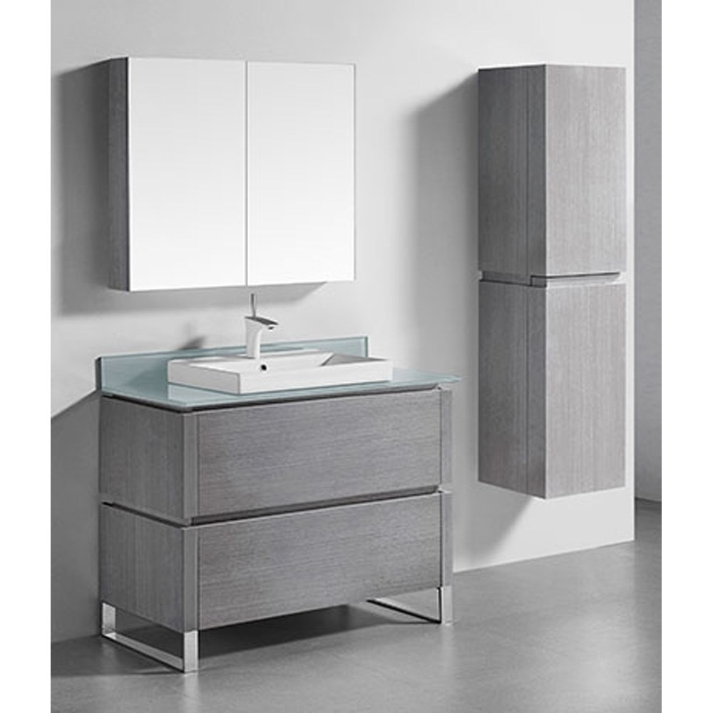 "Madeli Metro 42"" Bathroom Vanity for Glass Counter and Porcelain Basin - Ash Grey B600-42-001-AG-GLASS"