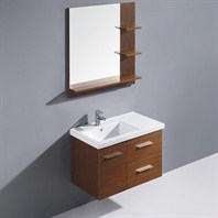 "Vigo 31"" Moderna Trio Single Bathroom Vanity with Mirror - Wenge VG09033118K"