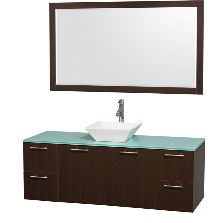"Amare 60"" Wall-Mounted Single Bathroom Vanity Set with Vessel Sink by Wyndham Collection - Espresso WC-R4100-60-VAN-ESP-SGL"