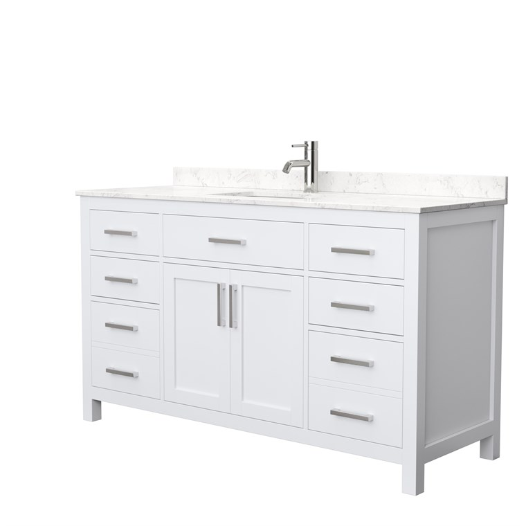 "Beckett 60"" Single Vanity by Wyndham Collection - White WC-2424-60-SGL-VAN-WHT"