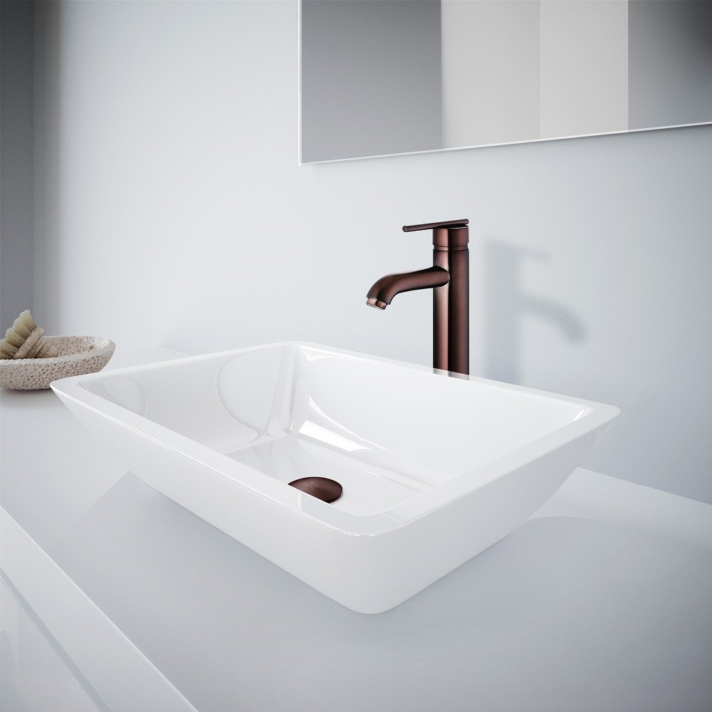 VIGO White Phoneix Stone Vessel Bathroom Sink And Seville Vessel Faucet Set in Oil Rubbed Bronze VGT1100