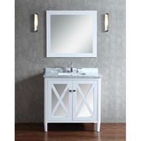 "Seacliff by Ariel Summit 36"" Single Sink Vanity Set with Carrera White Marble Countertop - White SCSUM36SWH"