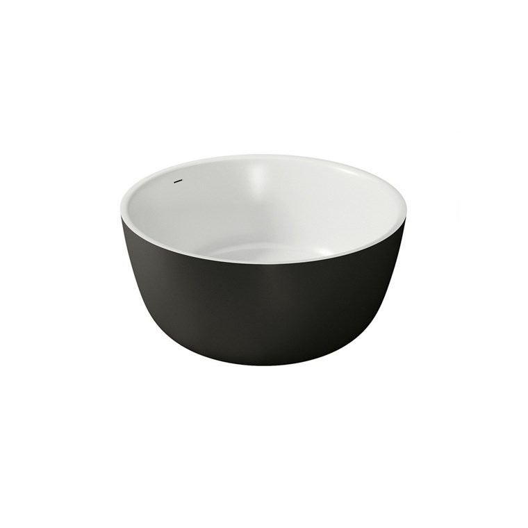 Aquatica PureScape 720M-Blck-Wht Round Freestanding Solid Surface Bathtub - Matte Black and White Aquatica PS720M-Blck-Wht