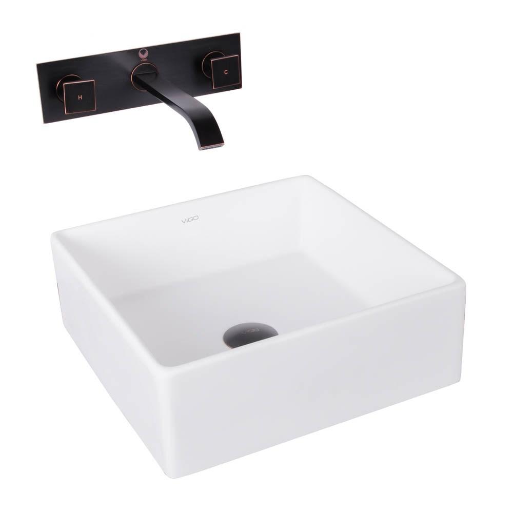 Vigo Bavaro Matte Stone Vessel Sink And Titus Antique Rubbed Bronze Finish Dual Lever Wall Mount Faucet W/ Pop Up
