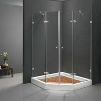 "Vigo Industries Frameless Neo-Angle Double Door Shower Enclosure - 42"" x 42"" VG6063CHCL42"
