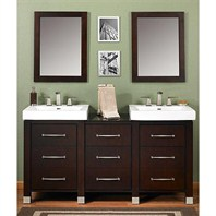 "Fairmont Designs Midtown 64"" Modular Double Vanity and Sink Set - Espresso 145-V2418B_DB1818_V2418B"