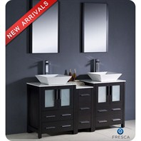 "Fresca Torino 60"" Espresso Modern Double Sink Bathroom Vanity with Side Cabinet, Vessel Sinks, and Mirrors FVN62-241224ES-VSL"
