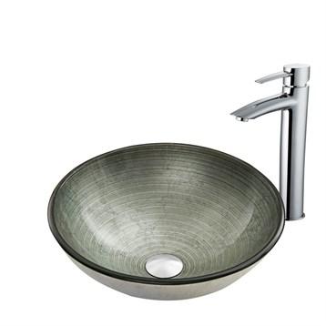 Vigo Simply Silver Glass Vessel Sink and Shadow Faucet Set in Chrome VGT837 by Vigo Industries