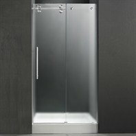 "VIGO 48-inch Frameless Shower Door 3/8"" Frosted/Chrome Hardware Left with White Base - Center Drain VG6041CHMT48LWS"