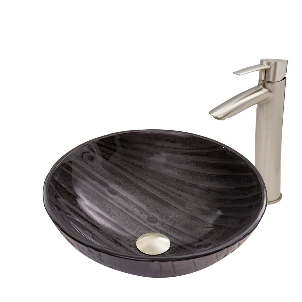 VIGO Interspace Glass Vessel Sink and Shadow Faucet Set in Brushed Nickel Finishnohtin Sale $245.90 SKU: VGT684 :