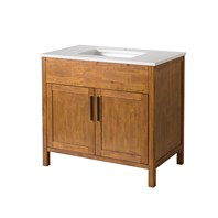 "Stufurhome Evangeline 37"" Single Sink Bathroom Vanity with White Quartz Top - Natural Wood TY-6343-37-QZ"