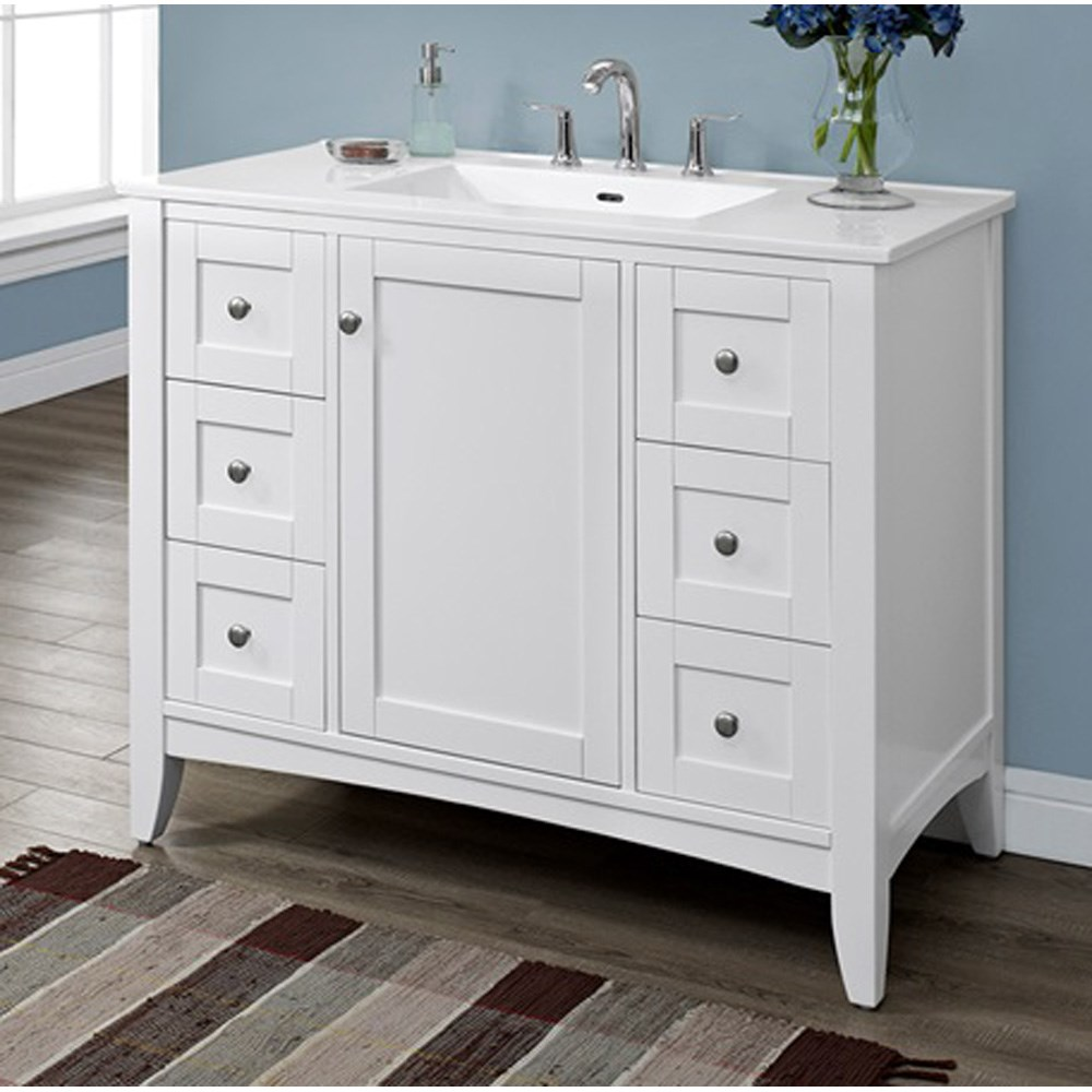 "Fairmont Designs Shaker Americana 42"" Vanity for Integrated Top - Polar Whitenohtin Sale $1375.00 SKU: 1512-V42- :"