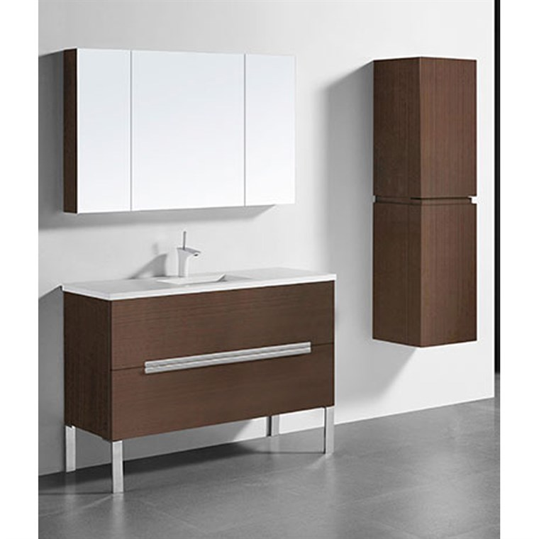 "Madeli Soho 48"" Single Bathroom Vanity for Quartzstone Top - Walnut B400-48C-001-WA-QUARTZ"