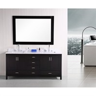 "Design Element London 72"" Double Vanity with Bottom Drawers - Espresso DEC301-B-CB-72"