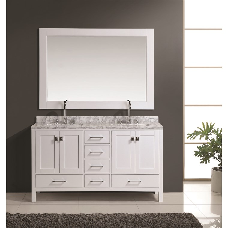 "Design Element London 60"" Double Vanity Set - White DEC082A-W"