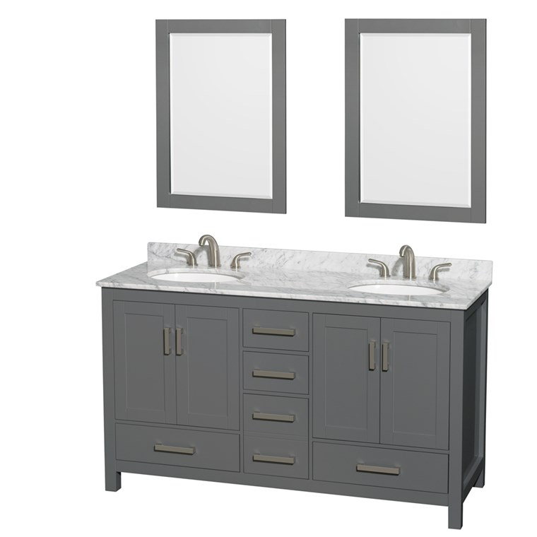 "Sheffield 60"" Double Bathroom Vanity by Wyndham Collection - Dark Gray WC-1414-60-DBL-VAN-DKG"
