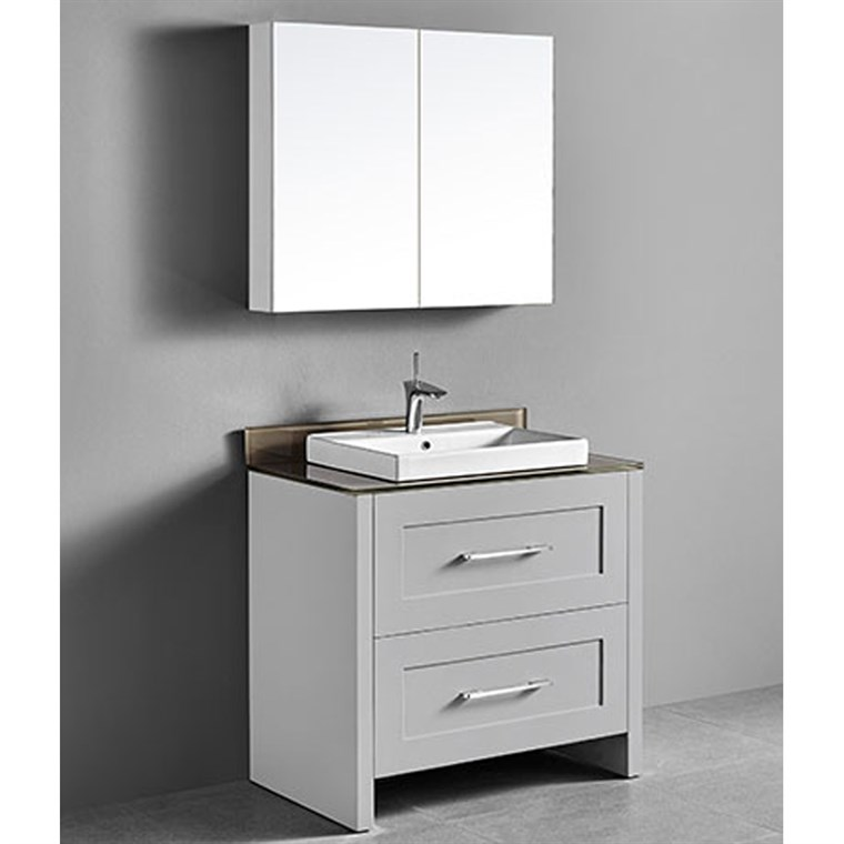 "Madeli Retro 36"" Bathroom Vanity for Glass Counter and Porcelain Basin - Whisper Grey B700-36-001-WG-GLASS"