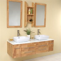 Fresca Bellezza Natural Wood Modern Double Vessel Sink Bathroom Vanity with Mirrors FVN6119NW