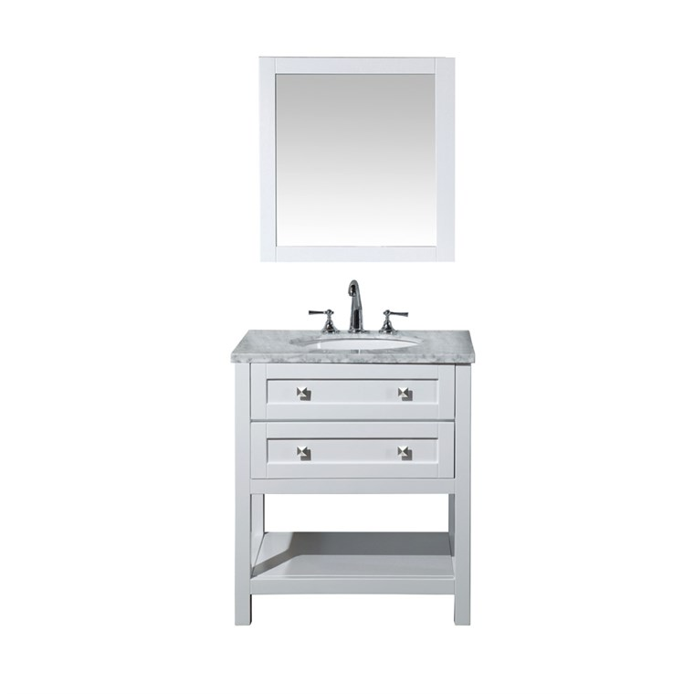 "Stufurhome Marla 30"" Single Sink Bathroom Vanity with Mirror - White HD-6868-30-CR"