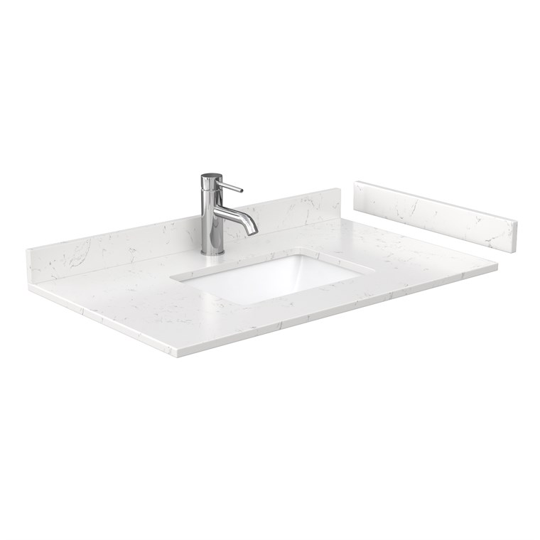 "36"" Single Countertop - Light-Vein Carrara Cultured Marble with Undermount Square Sink - Include Backsplash and Sidesplash WC-VCA-36-SGL-TOP-UMSQ-CC2"