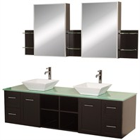 "Avara 72"" Wall-Mounted Double Bathroom Vanity Set by Wyndham Collection - Espresso WC-WHE007-SH-72-ESP"