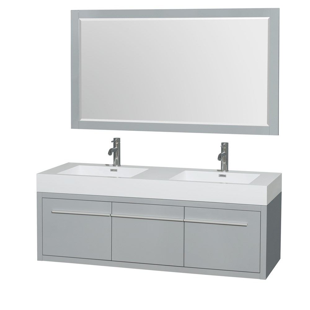"""Axa 60"""" Wall-Mounted Double Bathroom Vanity Set With Integrated Sinks by Wyndham Collection - Dove Graynohtin Sale $1499.00 SKU: WC-R4300-60-VAN-DVG :"""