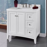 "Fairmont Designs Shaker Americana 36"" Vanity Drawer-right for Quartz Top - Polar White 1512-V36R"
