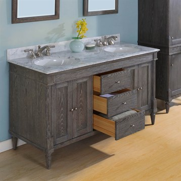 Fairmont designs rustic chic 60 vanity double bowl silvered oak free shipping modern bathroom for 60 double bowl bathroom vanity