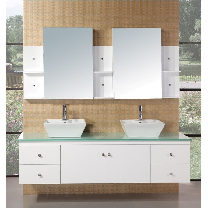"Design Element Portland 71"" Double Sink Bathroom Vanity - White DEC071B-W"