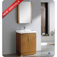 "Fresca Elissos 24"" Wild Honey Oak Modern Bathroom Vanity with Medicine Cabinet FVN8123WO"
