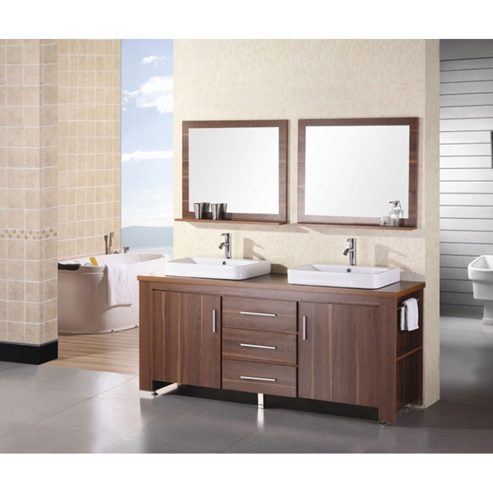 """The 72"""" Washington Vanity is stylishly constructed of solid veneer panels. The designer flat vessel drop in sinks and sleek cabinetry bring style and utility to any bathroom. The sinks rectangular round corner design beautifully contrast with the cabinets sleek lines and toffee finish. This vanity includes side storage, two large soft closing cabinets and three center drawers adorned with satin nickel hardware. Included are two toffee framed mirrors with shelf. The Washington Bathroom Vanity is designed as a center piece to awe-inspire the eye without sacrificing quality, functionality or durability. Features Solid veneer panelsToffee finishWater resistant counter topsTwo porcelain drop in sinks with overflow drain Faucet(s) not includedTwo chrome pop up drainsTwo toffee framed mirrors with shelfTwo side shelves and towel barsTwo soft closing cabinets and three drawersSatin nickel finish hardwareManufacturer provides 1 year warranty How to han"""