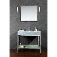 "Seacliff by Ariel Brightwater 36"" Single Sink Vanity Set with Carrera White Marble Countertop - Stainless Steel SC-BRI-36-PSS"