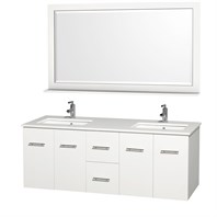 "Centra 60"" Double Bathroom Vanity for Undermount Sinks by Wyndham Collection - White WC-WHE009-60-DBL-VAN-WHT-"