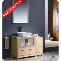"Fresca Torino 42"" Light Oak Modern Bathroom Vanity with Side Cabinet & Vessel Sink FVN62-3012LO-VSL"