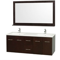 "Centra 60"" Double Bathroom Vanity Set by Wyndham Collection - Espresso WC-WHE009-60-DBL-ESP"