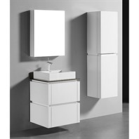 "Madeli Cube 24"" Wall-Mounted Bathroom Vanity for Glass Counter and Porcelain Basin - Glossy White B500-24-002-GW-GLASS"