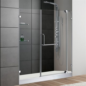 Vigo 60 Inch Frameless Shower Door 38 Clear Glass Chrome Hardware