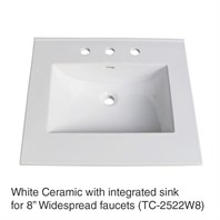 "25"" White Top with integrated sink - Ceramic (For 3-Hole Faucets) TC-2522W8"
