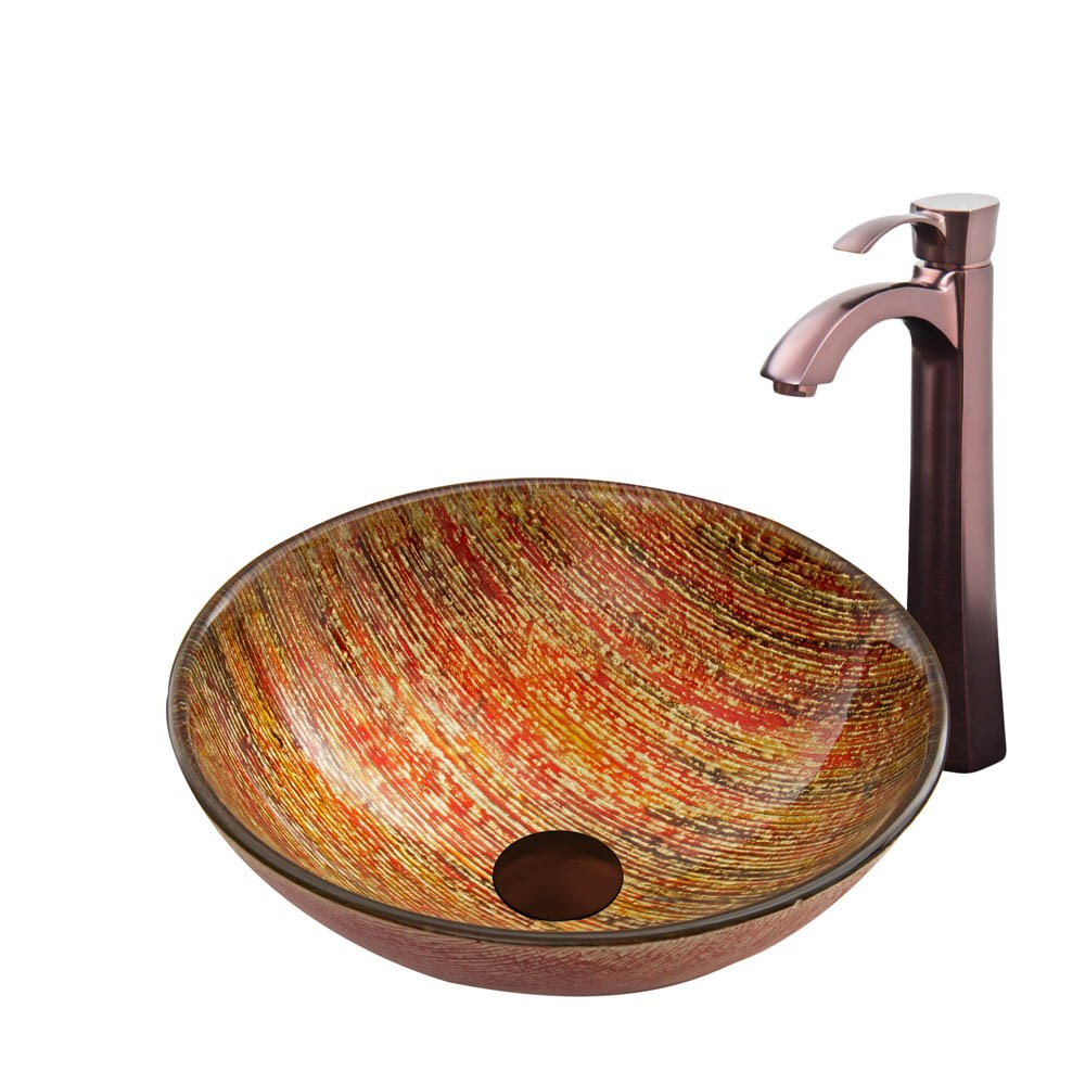VIGO Blazing Fire Glass Vessel Sink and Otis Faucet Set in a Oil Rubbed Bronze finishnohtin Sale $255.90 SKU: VGT820 :