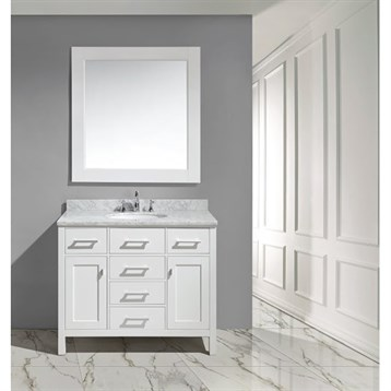 """Design Element London 42"""" Bathroom Vanity with White Carrara Marble Countertop, Porcelain Sink and Mirror, White... by Design Element"""