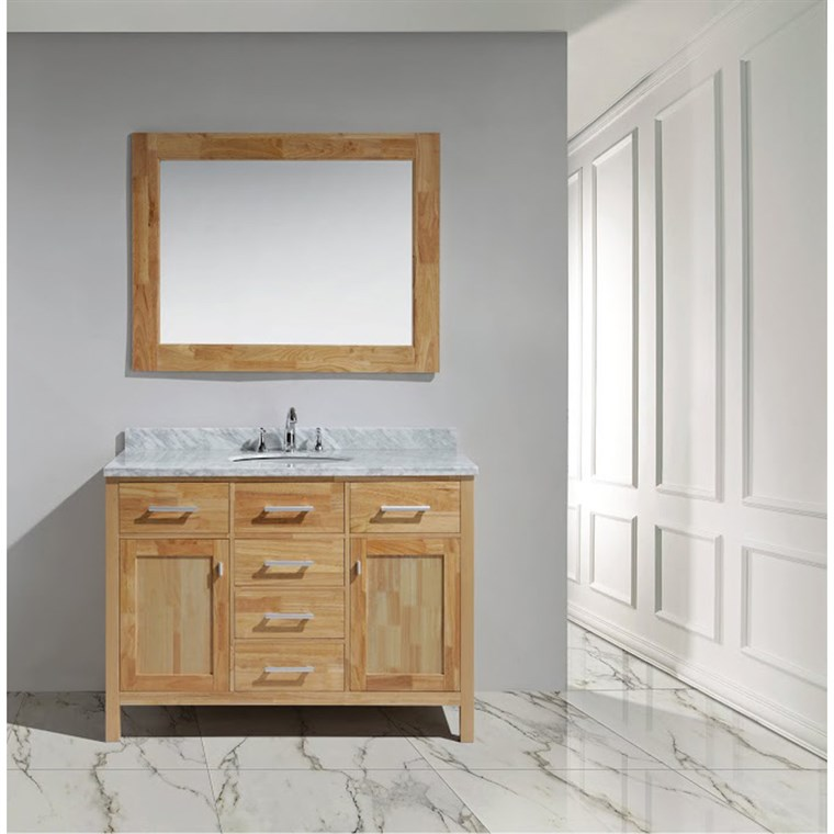 "Design Element London 48"" Vanity with White Carrera Countertop, Porcelain Sink and Mirror - Honey Oak DEC076C-O"