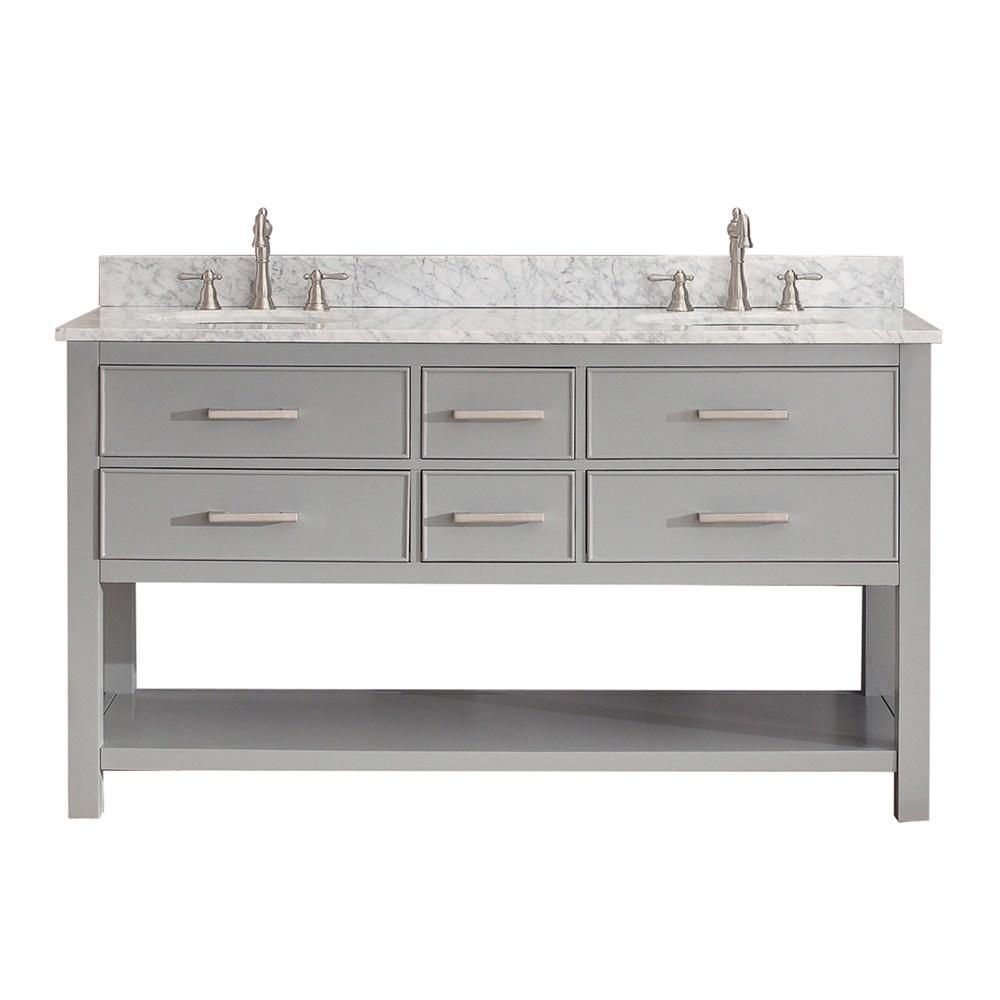 """Avanity Brooks 60"""" Double Bathroom Vanity - Chilled Graynohtin Sale $1156.00 SKU: BROOKS-60-CG :"""