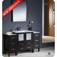 "Fresca Torino 54"" Espresso Modern Bathroom Vanity with 2 Side Cabinets, Integrated Sink, and Mirror FVN62-123012ES-UNS"