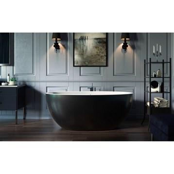 Aquatica Sensuality Mini-f-black-wht Relax Solid Surface Air Massage Bathtub - Matte Black And White